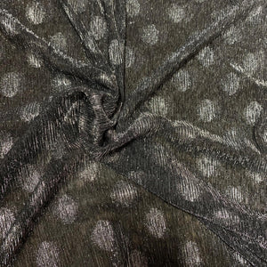 Silver Lurex Spot on Black 2 Way Stretch Fine Knit 13-  Sold By Half Meter