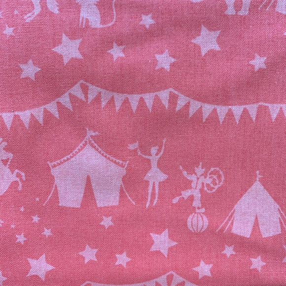 0.5m 100% Cotton Circus Silhouette Pink - Rem 1202
