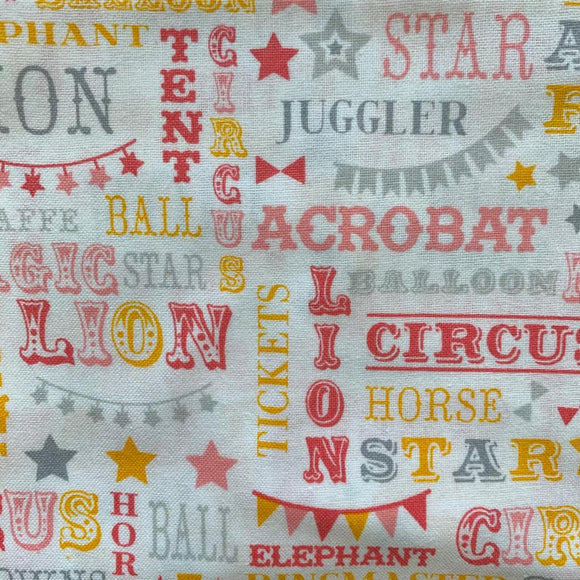 0.5m 100% Cotton Circus Words Pink/Yellow/Grey - Rem 1202