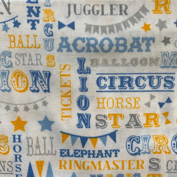 0.5m 100% Cotton Circus Words Grey/Yellow/Blue - Rem 1202