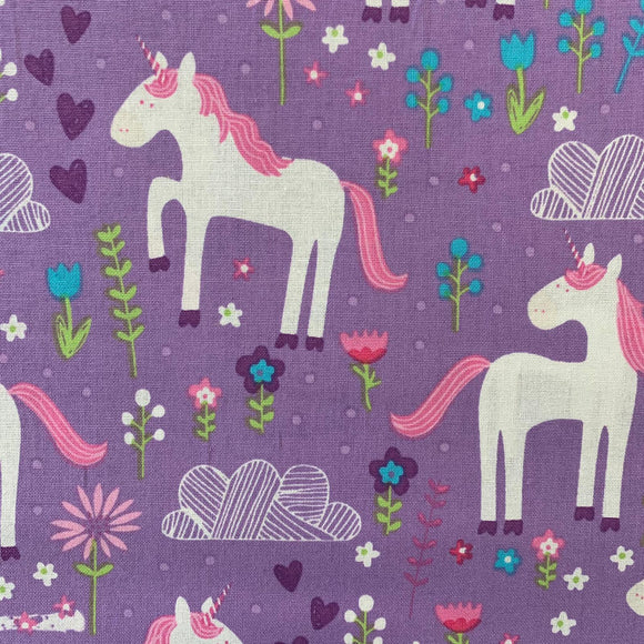 100% Cotton (Craft)  - Unicorns with Pretty Flowers - Sold by Half Metre