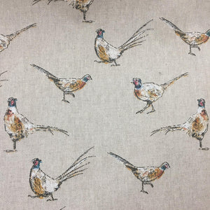 Linen look Pheasants - Sold By Half Metre