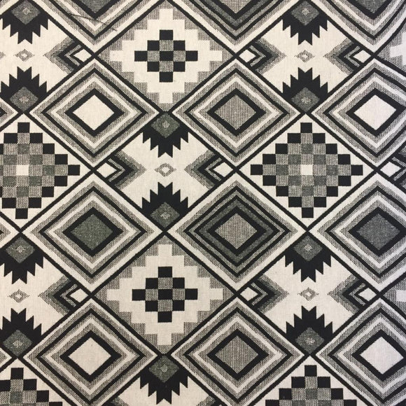 Tapestry - Multi Diamonds - Black / Grey / Natural - Sold by Half Metre