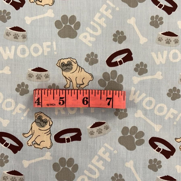Polycotton Print - Blue Pug - Clearance - Sold by Half Metre