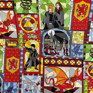 100% Cotton - Harry Potter - Mosaic Cartoon Characters - Sold By Half Metre