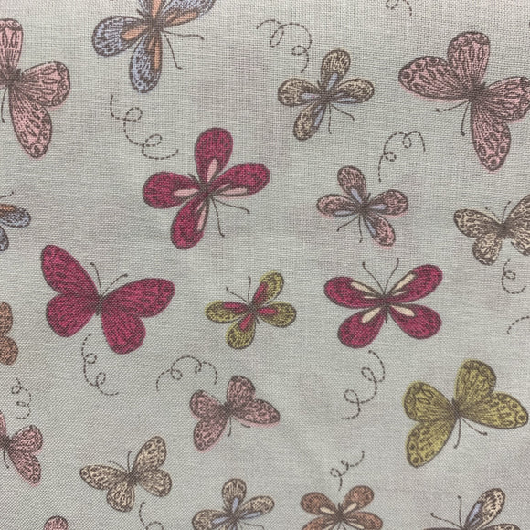 Remnant 308087 1.7m Craft Cotton - Duck Egg Butterflies 140cm Wide