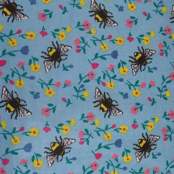 Polycotton Print - Bumble Bee Blue - Sold by Half Metre