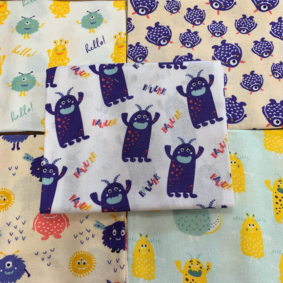 100% Cotton Fat Quarters - Little Monsters