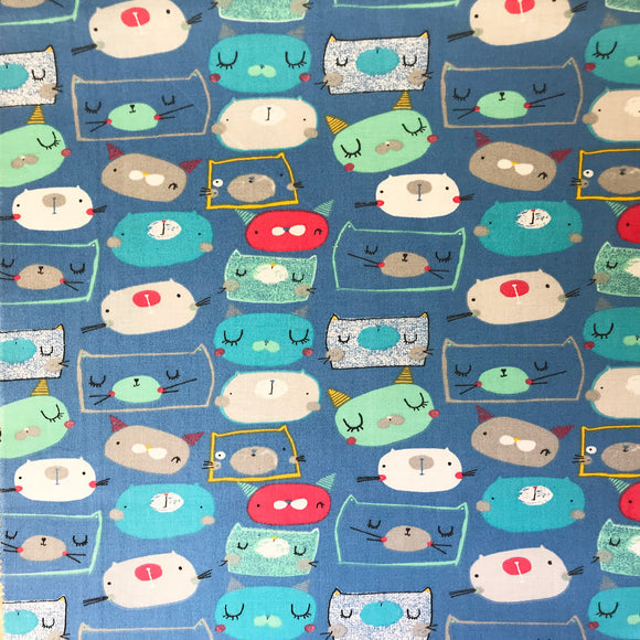 100% Cotton  -Cutzie Cats - Blue - Sold by Half Metre