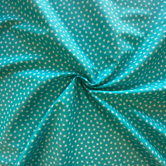 100% Cotton Fat Quarter -Teal With Mini White Bows