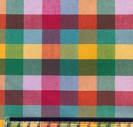 Polycotton Colourful Check  - Sold by Half Metre