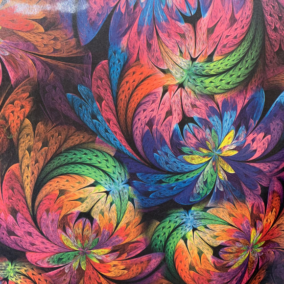 100% Polyester - Colourful Exotic Flowers - Sold By Half Metre