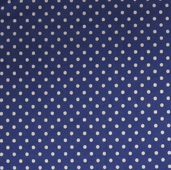 100% Cotton  - Denim Blue Spot - Sold by Half Metre