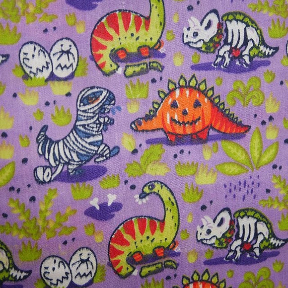 Halloween Polycotton Print  - Dino Pumpkin - Violet - Sold by Half Metre