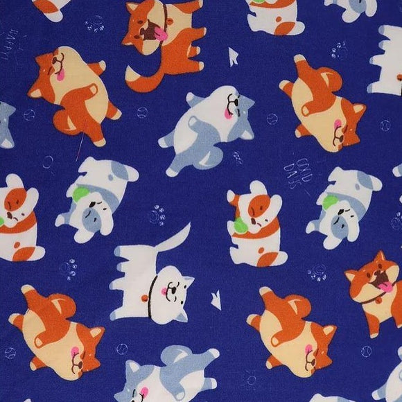 Polycotton Print - Cutzie Dogs - Blue - Sold by Half Metre