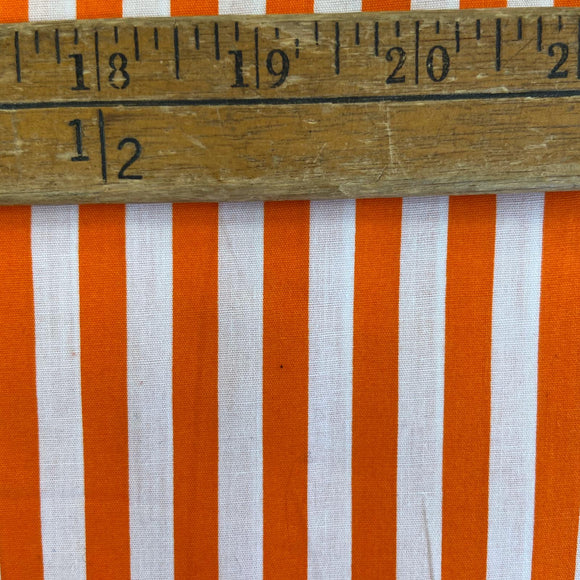 100% Cotton  - Orange Stripe - CLEARANCE - Sold by Half Metre