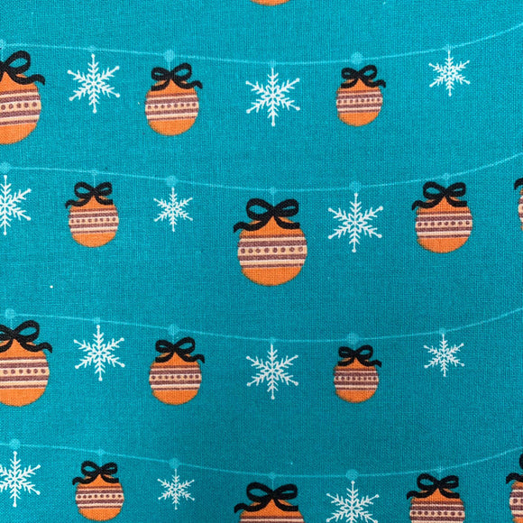 100% Cotton Christmas - Baubles and Snowflakes - Blue - Sold by Half Metre