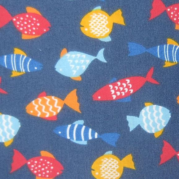 Polycotton Print Children's - Navy Fish - Sold by Half Metre