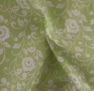 Polycotton Print - Floral Silhouette - Green - Sold by Half Metre