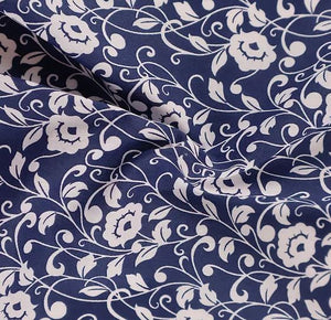 Polycotton Print - Floral Silhouette - Navy Blue - Sold by Half Metre