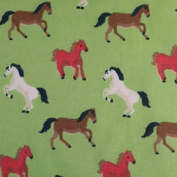 Polycotton Print - Horses - Green - Sold by Half Metre
