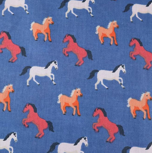 Polycotton Print - Horses - Blue - Sold by Half Metre