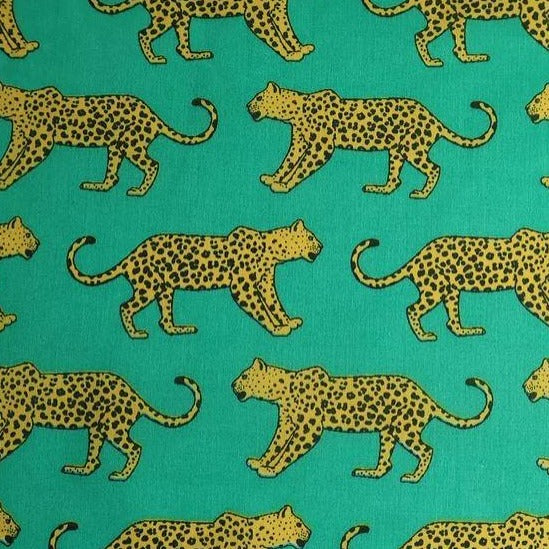 Polycotton Print - Leopard - Jade - Sold by Half Metre