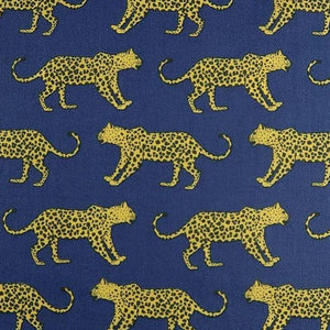 Polycotton Print - Leopard - Navy - Sold by Half Metre