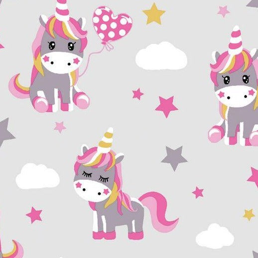 Cotton Jersey - Unicorns - Grey - Sold By Half Metre