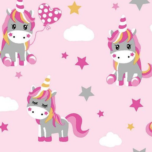 Cotton Jersey - Unicorns - Pink - Sold By Half Metre