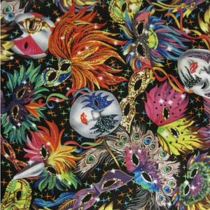100% Cotton - Mask  Carnival Mardi Gras - Sold By Half Metre
