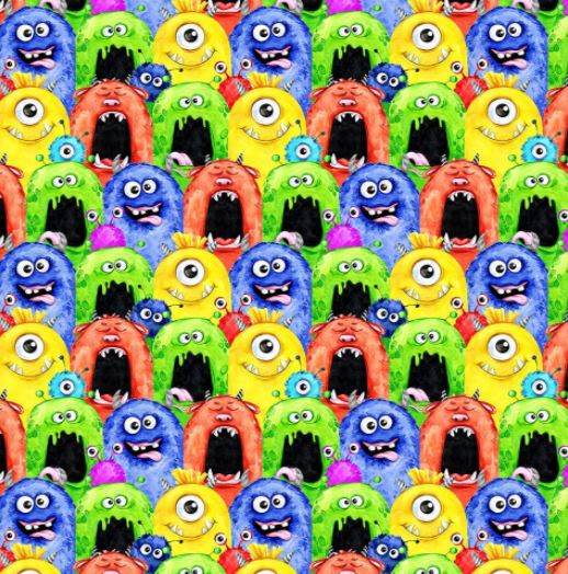 100% Cotton (Craft)  - Little Monsters - Sold by Half Metre