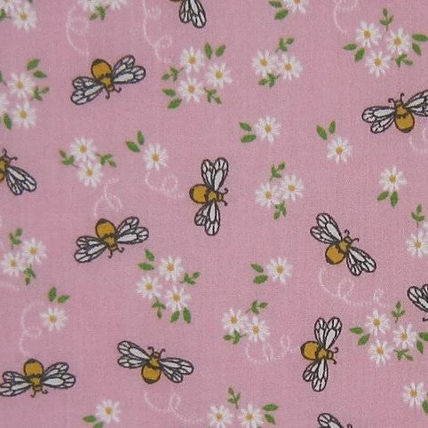 Polycotton Print Children's - Little Bee - Pink - Sold by Half Metre