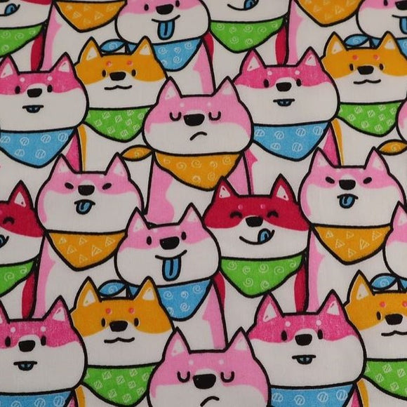 Polycotton Children's Print - Dogs Pink - Sold by Half Metre