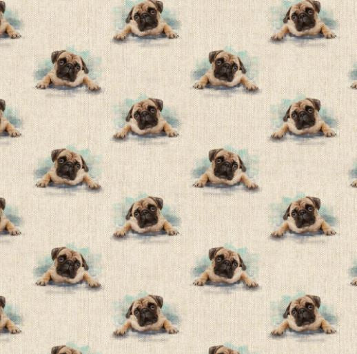 Linen look - Pug - Sold By Half Metre