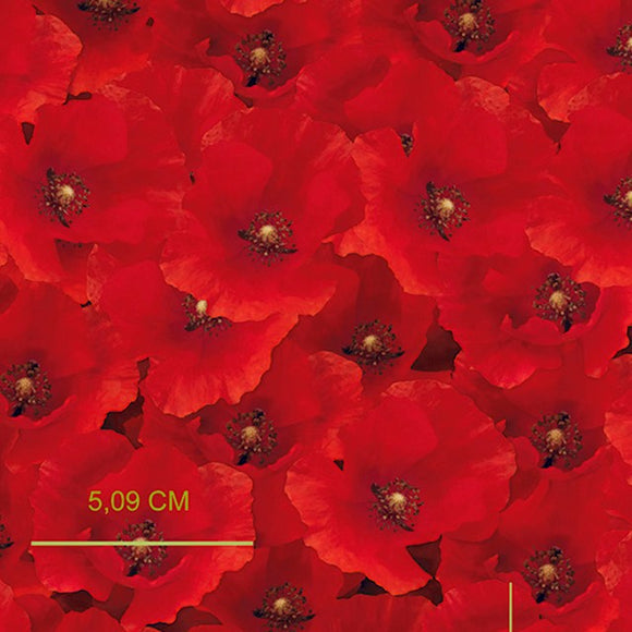 100% Cotton Poplin - Digital Poppies - Sold By Half Metre