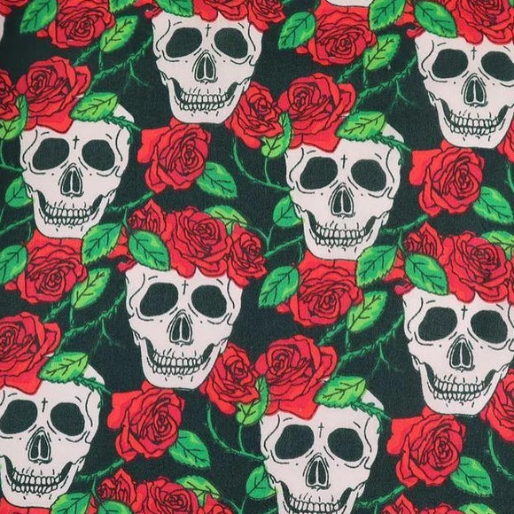 Polycotton Print - Skull and Roses Red - Sold by Half Metre