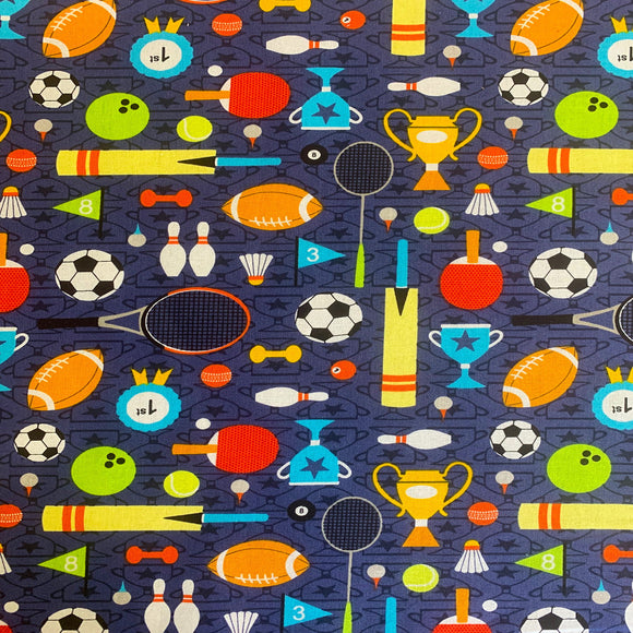 100% Cotton  - Sports Day Navy - Sold by Half Metre