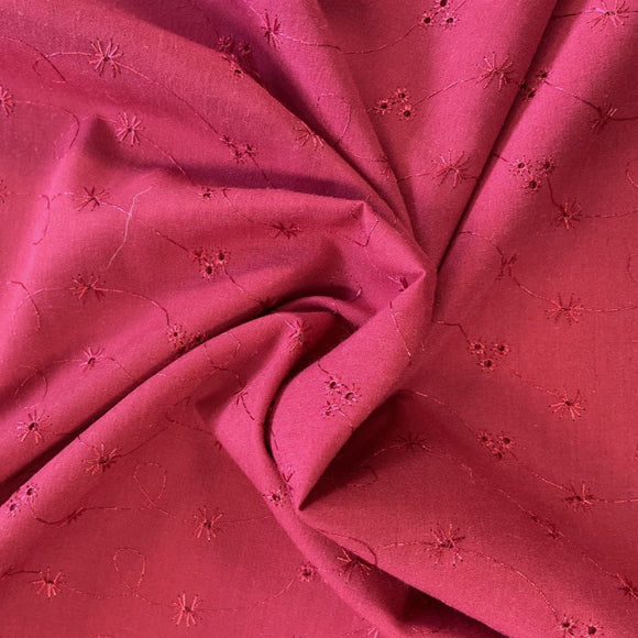 Polycotton Dark Red Broderie Anglais - Sold by Half Metre