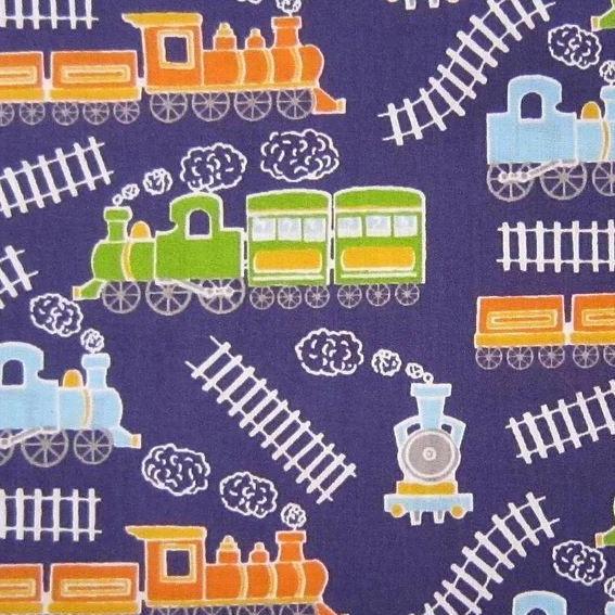 Polycotton Print - Trains - Navy Blue - Sold by Half Metre