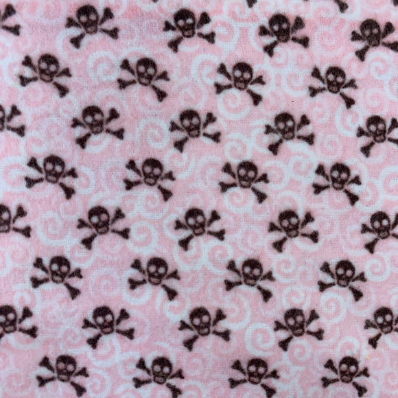 100% Brushed Cotton Michael Miller Baby Pink Skulls - Sold By Half Metre