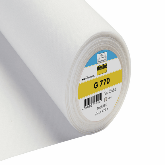 Vilene Interlining - Fusible Woven - Bi Elastic - G770 White - Sold by Half Metre