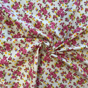 100% Cotton  - Garden Party Floral - White - Sold by Half Metre