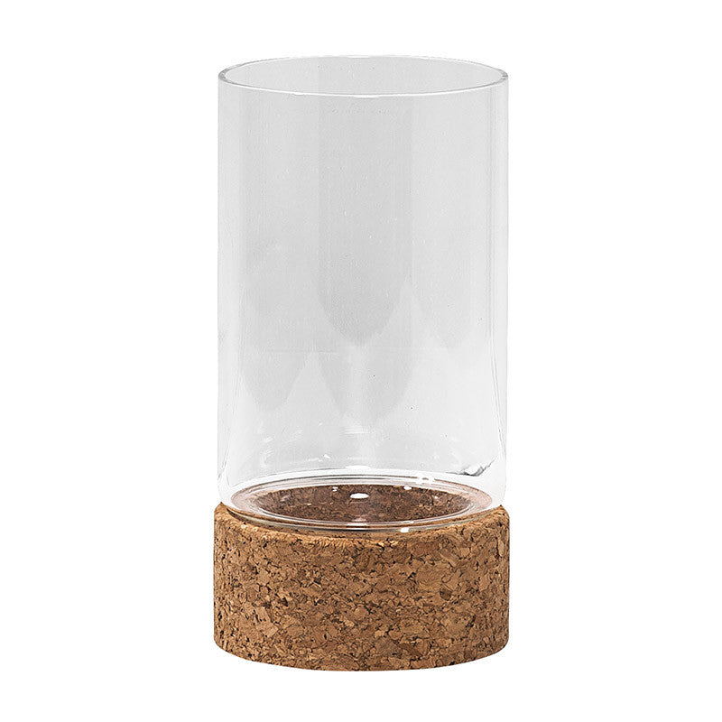 Scandinavian lantern with cork base and glass casing