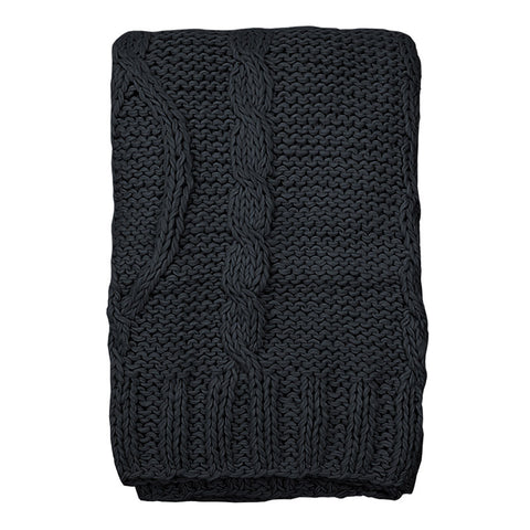 Scandinavian black cable knit throw