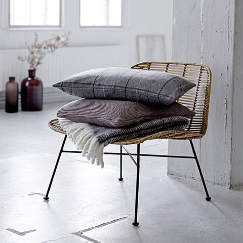 Scandinavian herringbone throw light brown lifestyle