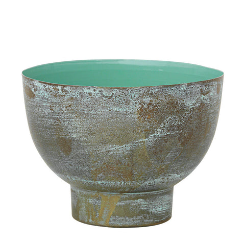 Brass Scandinavian tealight holder with turquoise interior glaze