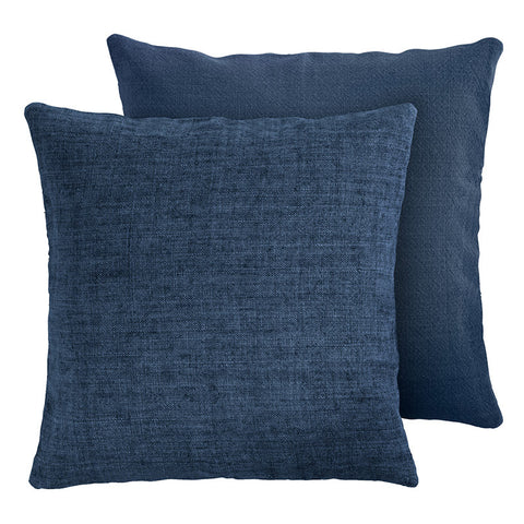 Premium Scandinavian navy linen and cotton cushion front face
