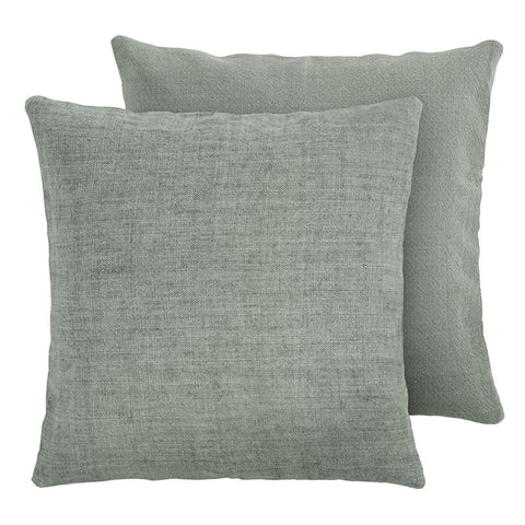 Premium Scandinavian green linen and cotton cushion front face