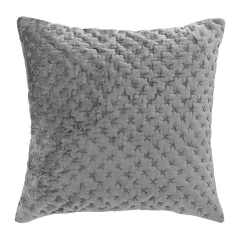 Scandinavian embroidered velvet cushion grey